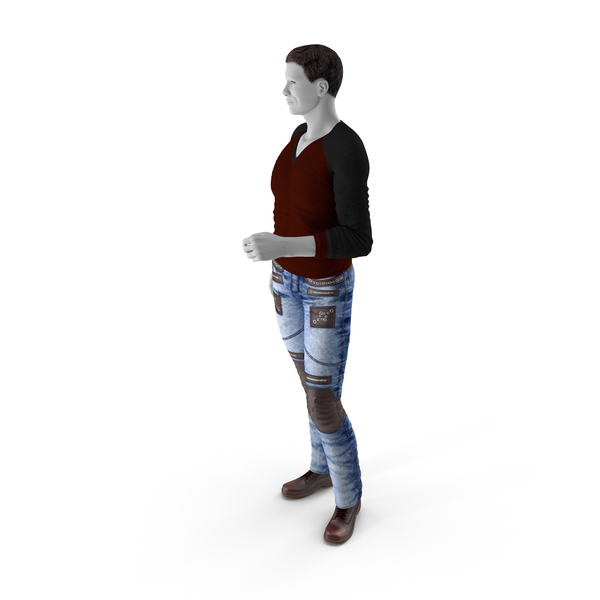Man In City Style Clothes Standing Pose PNG & PSD Images