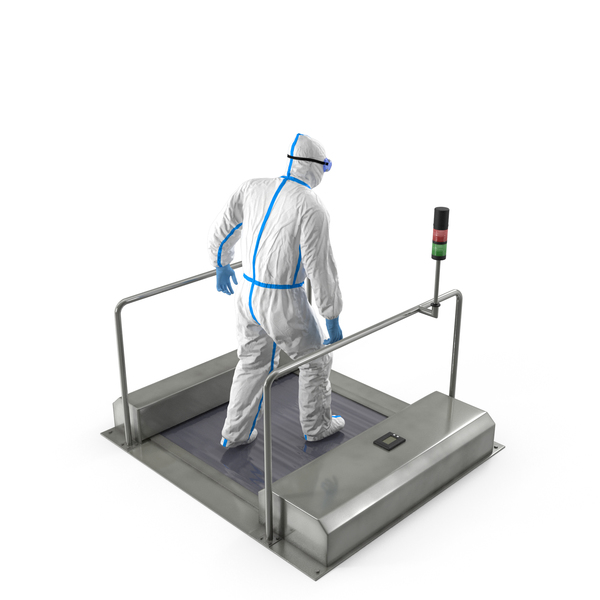 Man in Medical Protective Suit with Automatic Shoes Sole Cleaner PNG & PSD Images