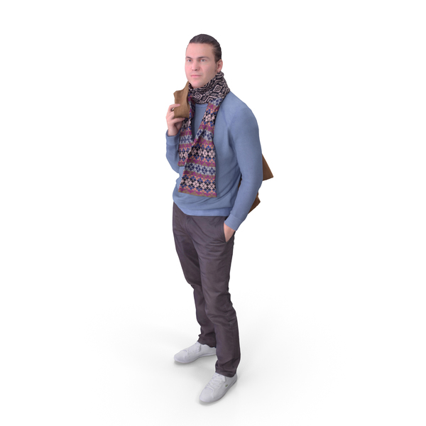 Man Posed with Scarf PNG & PSD Images