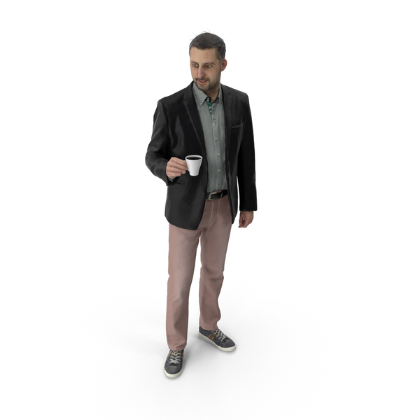 Man Standing with Coffee Cup PNG & PSD Images