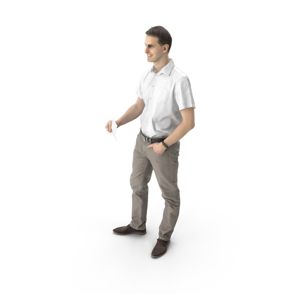 Man Standing with Note PNG & PSD Images