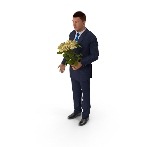 Man With Yellow Roses PNG & PSD Images