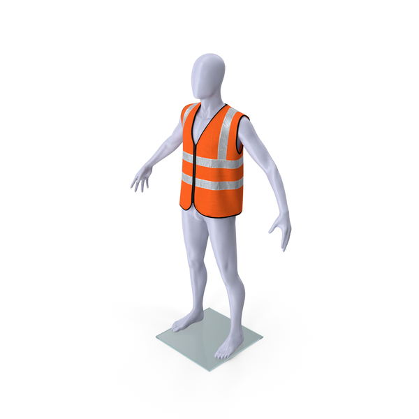 Mannequin with Orange Hi Vis Safety Vest PNG & PSD Images