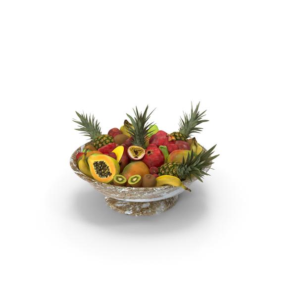 Fruit Basket: Marble Bowl Exotic Fruits PNG & PSD Images