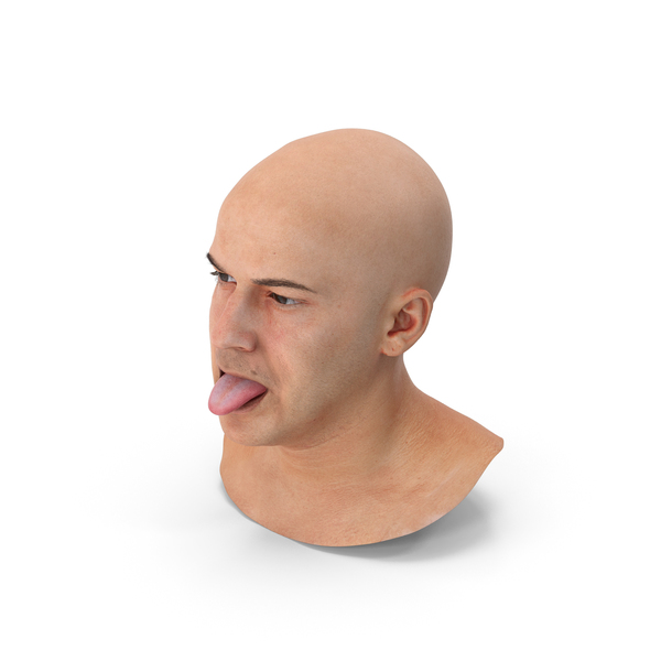 Male: Marcus Human Head Tongue Show Down PNG & PSD Images