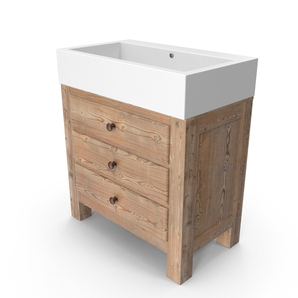Mason Reclaimed Wood Single Sink Vanity PNG & PSD Images