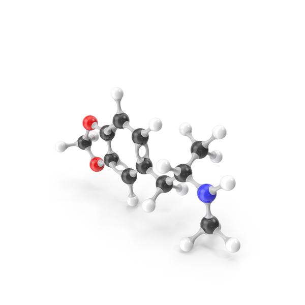 Molecule: MDMA Molecular Model PNG & PSD Images