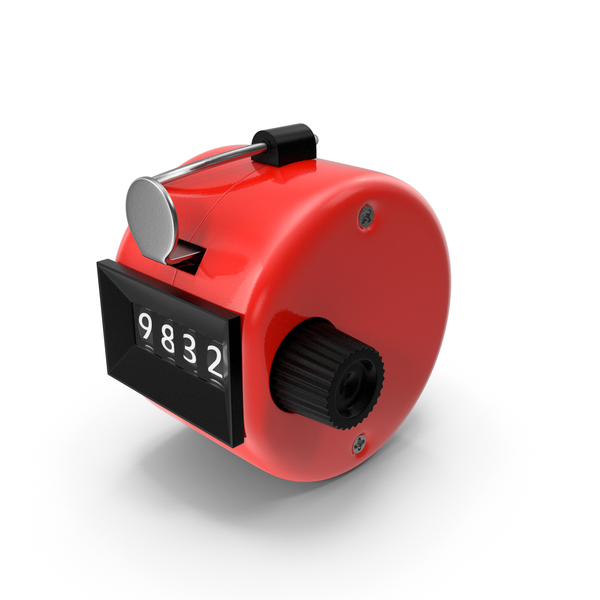 Mechanical Hand Tally Counter Red PNG & PSD Images