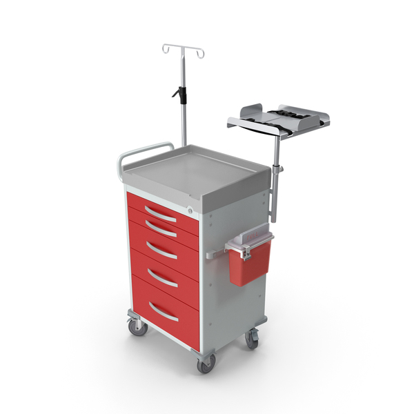 Medical Cart with Defibrillator Shelf PNG & PSD Images
