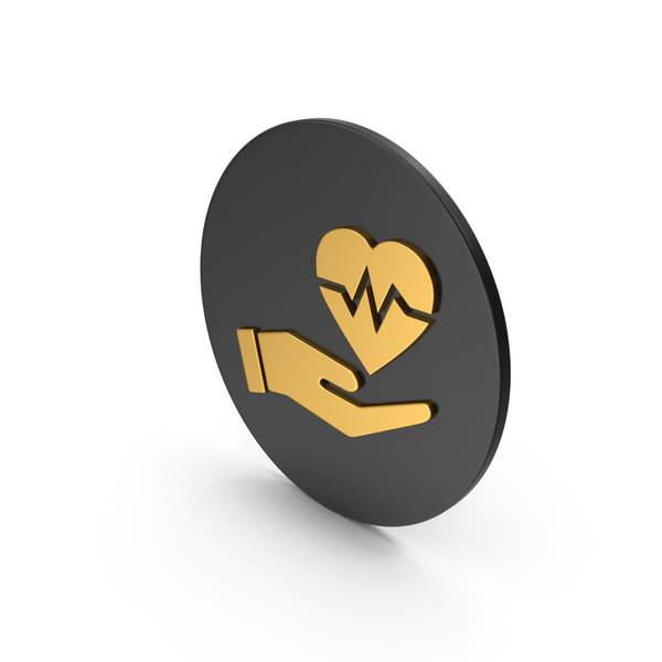 Shape: Medical Heart In Hand Gold Icon PNG & PSD Images