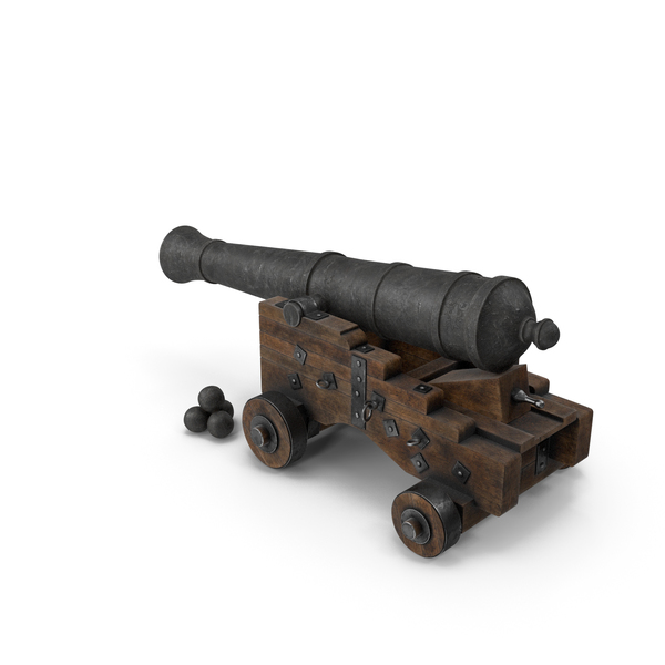 Medieval Gun Lowered on Gun Carriage with Cannonballs PNG & PSD Images