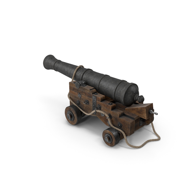 Medieval Gun on Gun Carriage with Rope PNG & PSD Images
