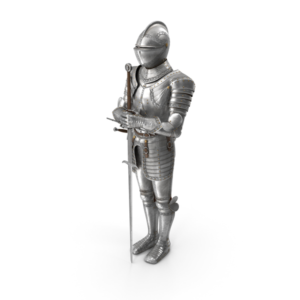 Suit Of: Medieval Knight Plate Armor standing with Zweihander PNG & PSD Images