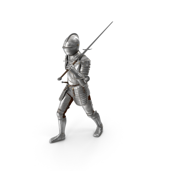 Longsword: Medieval Knight Plate Armor Walking Pose PNG & PSD Images