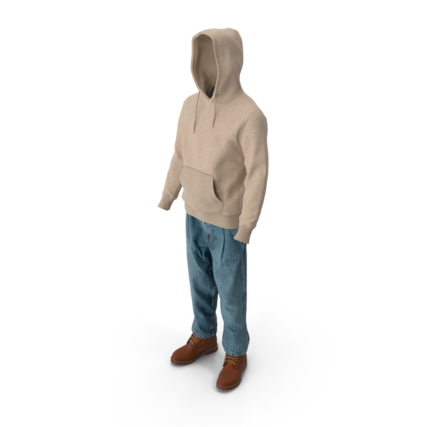 Men's Boots Jeans T-shirt Hoodie Beige Brown PNG & PSD Images