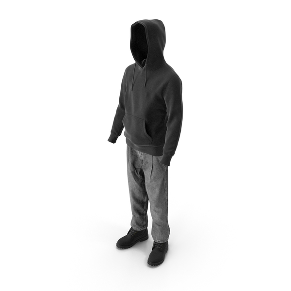 Men's Boots Jeans T-shirt Hoodie Black PNG & PSD Images