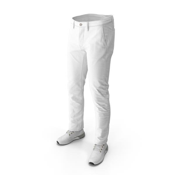 Men's Boots Pants White PNG & PSD Images
