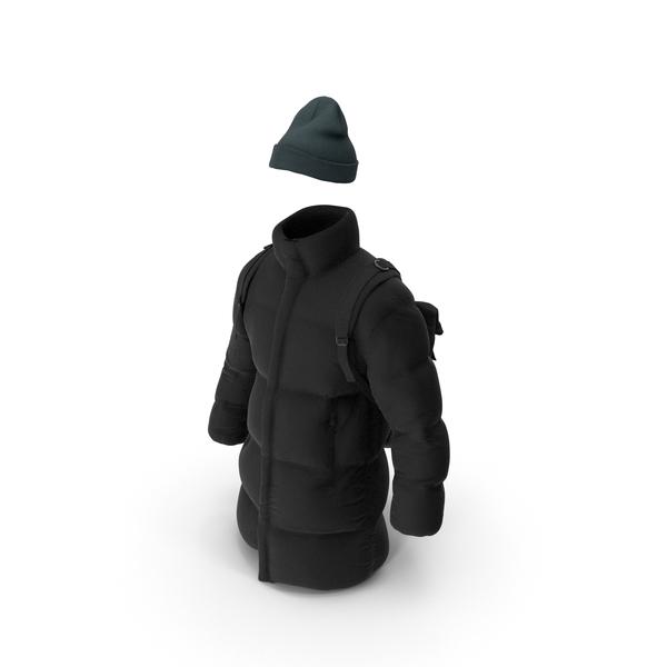 Men's Down Coat Hat Backpack Black PNG & PSD Images