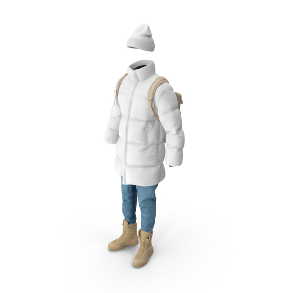Men's Down Coat Jeans Pullover Hat Backpack Boots Beige White PNG & PSD Images