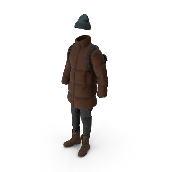 Men's Down Coat Jeans Pullover Hat Backpack Boots  Brown PNG & PSD Images
