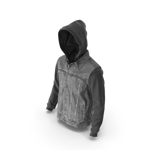 Men's Jean Jacket Dark Grey Black PNG & PSD Images