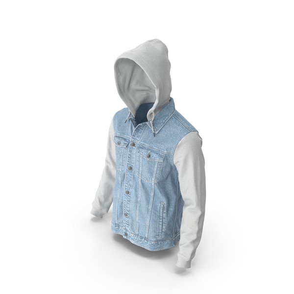 Men's Jean Jacket Light Blue White PNG & PSD Images