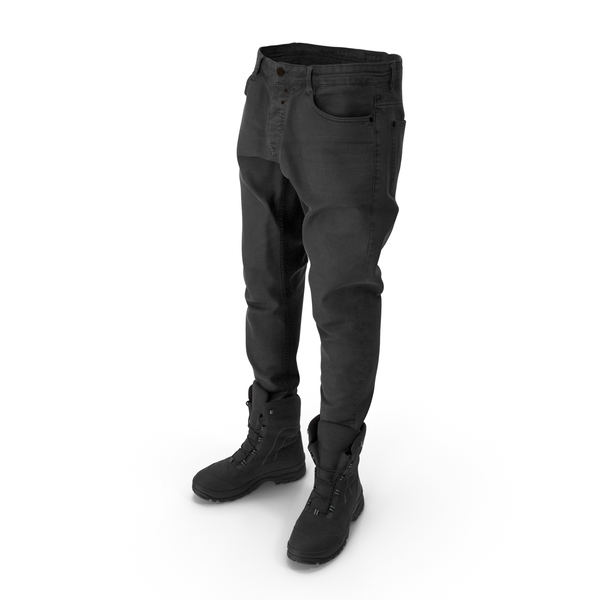 Clothing: Men's Jeans Boots  Black PNG & PSD Images