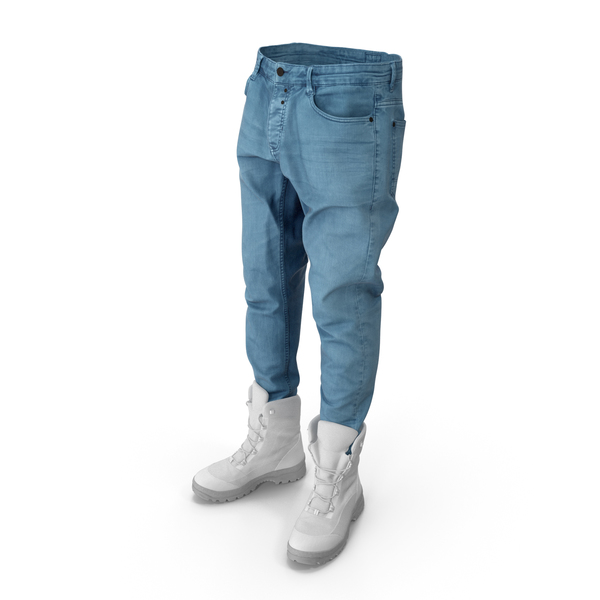 Men's Jeans Boots Blue White PNG & PSD Images
