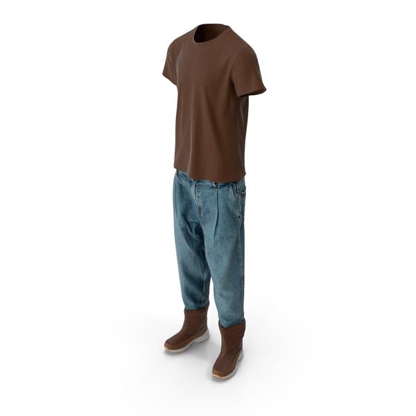 Men's Jeans Boots T-shirt Brown Blue PNG & PSD Images
