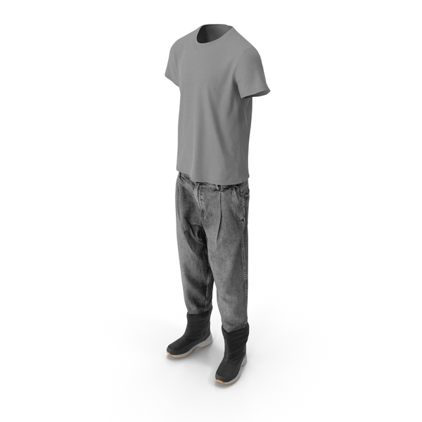 Men's Jeans Boots T-shirt Dark Grey PNG & PSD Images