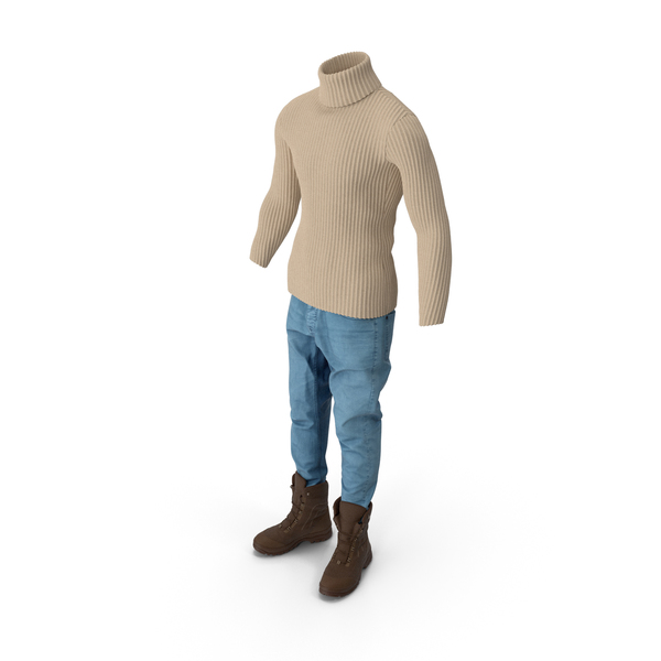Men's Jeans Pullover Boots Beige Brown PNG & PSD Images