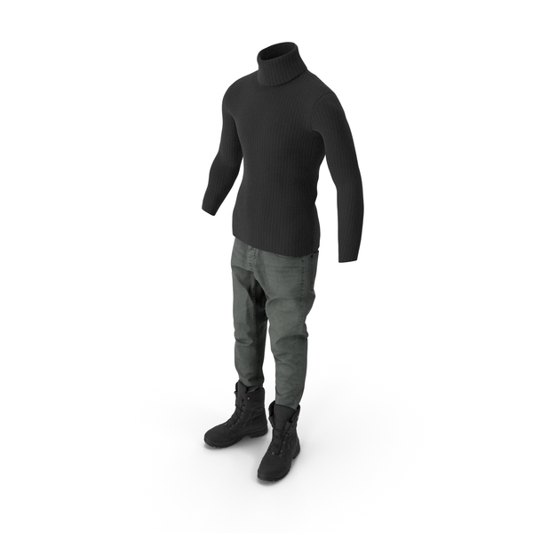 Men's Jeans Pullover Boots Black PNG & PSD Images