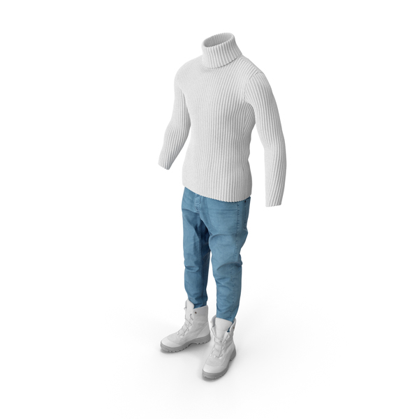 Men's Jeans Pullover Boots  White PNG & PSD Images