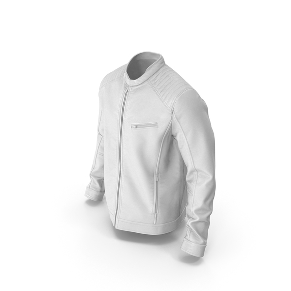 Men's Leather Jacket White PNG & PSD Images