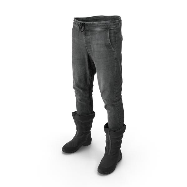 Men's Pants Boots Black PNG & PSD Images