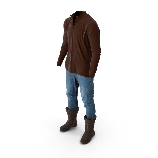Clothing: Men's Pants Boots Pullover Brown PNG & PSD Images