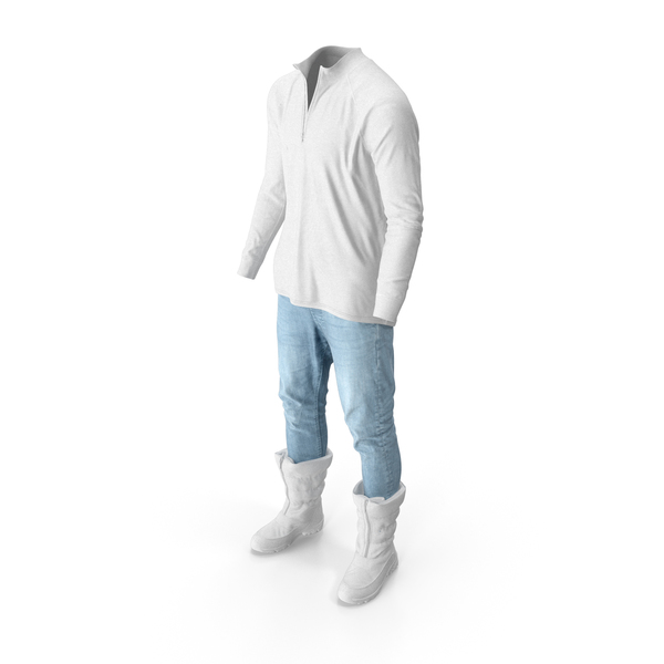 Men's Pants Boots Pullover White PNG & PSD Images