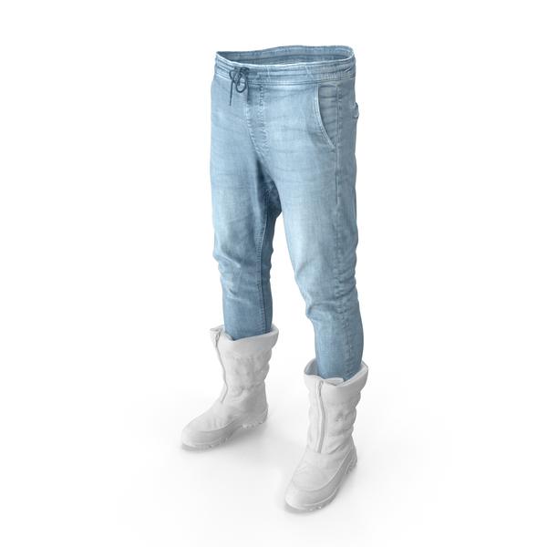 Men's Pants Boots White PNG & PSD Images
