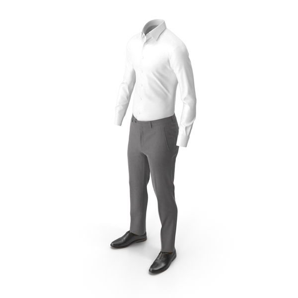 Men's Pants Shirt Shoes Grey PNG & PSD Images