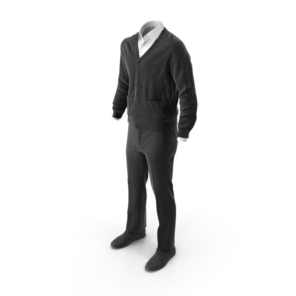Men's Pants Waistcoat Shirt Shoes 3 Black PNG & PSD Images