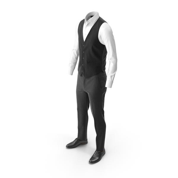 Men's Pants Waistcoat Shirt Shoes Black PNG & PSD Images