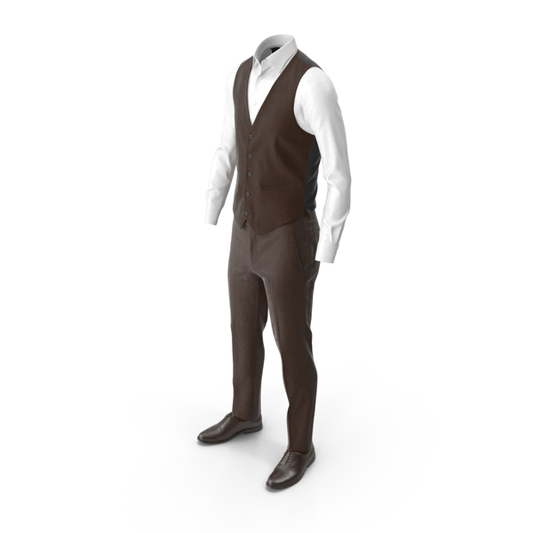 Sticky Note: Men's Pants Waistcoat Shirt Shoes Brown PNG & PSD Images