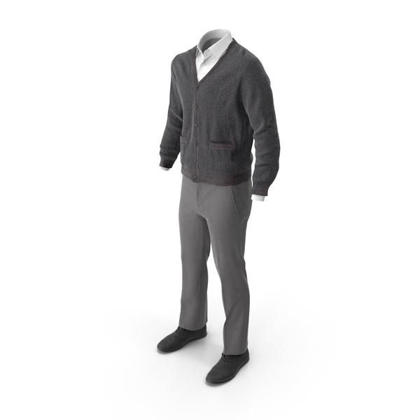 Men's Pants Waistcoat Shirt Shoes Grey Black PNG & PSD Images