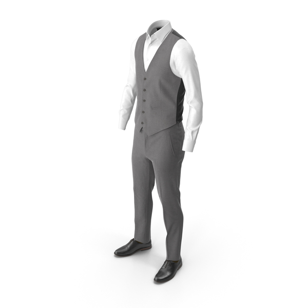 Clothing: Men's Pants Waistcoat Shirt Shoes Grey PNG & PSD Images