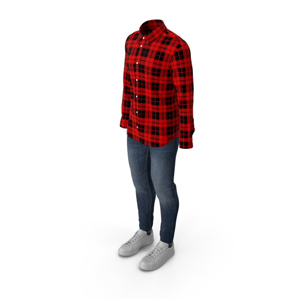 Men Shirt Jeans and Sneakers PNG & PSD Images