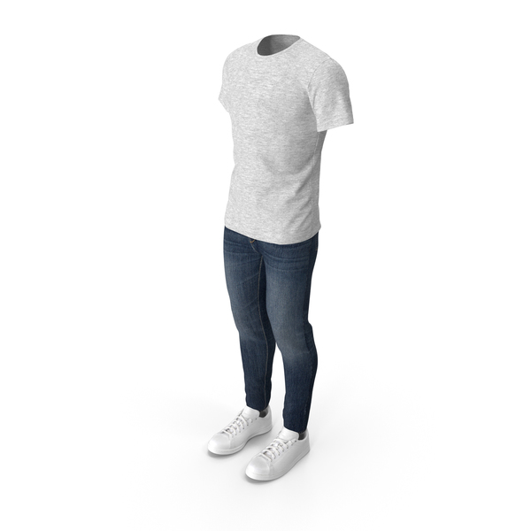 Men T-Shirt Jeans and Sneakers PNG & PSD Images