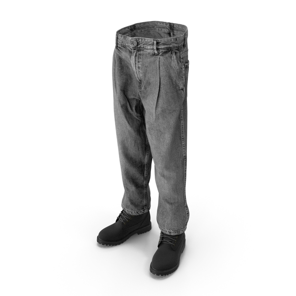 Clothing: Mens Boots Jeans Dark Grey Black PNG & PSD Images