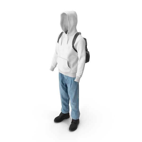 Mens Boots Jeans T-shirt Hoodie Hat Backpack Black White PNG & PSD Images