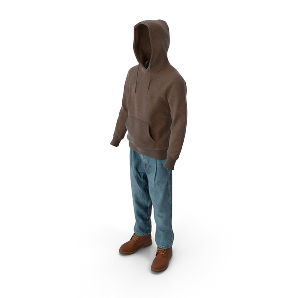 Mens Boots Jeans Tshirt Hoodie Brown PNG & PSD Images