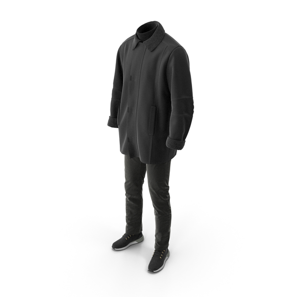 Clothing: Mens Boots Pants Coat Pullover Black PNG & PSD Images